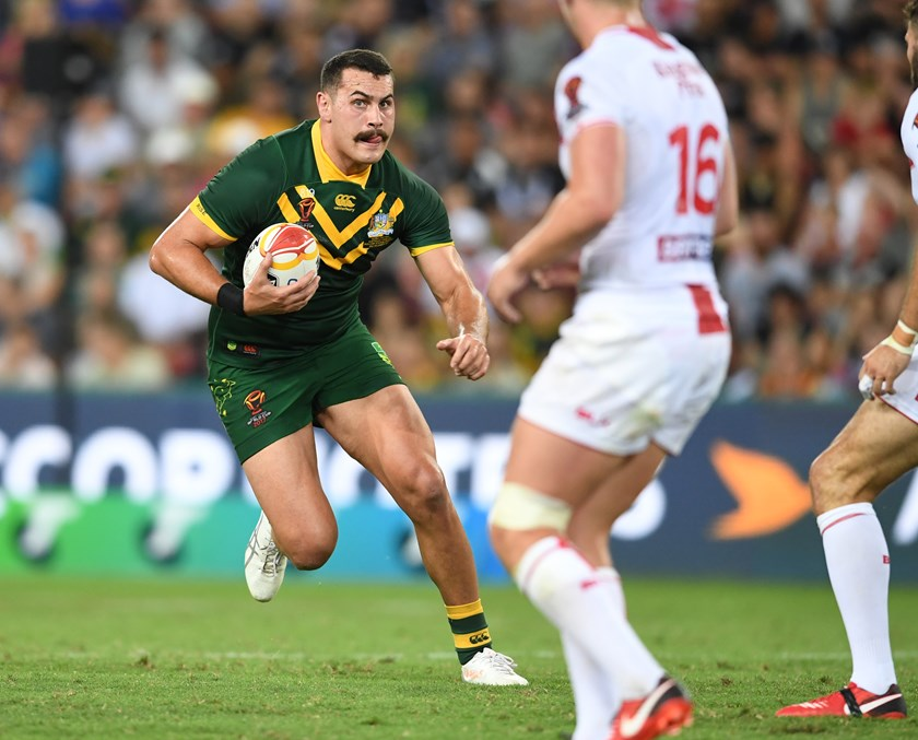 Australia prop Reagan Campbell-Gillard takes on the England defence.