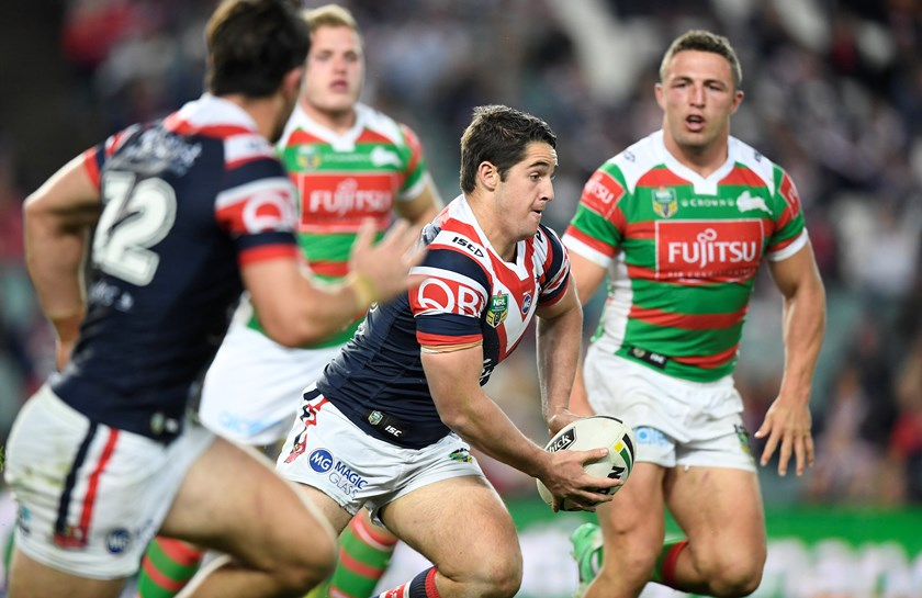 Roosters youngster Nat Butcher takes on the Rabbitohs' defence.