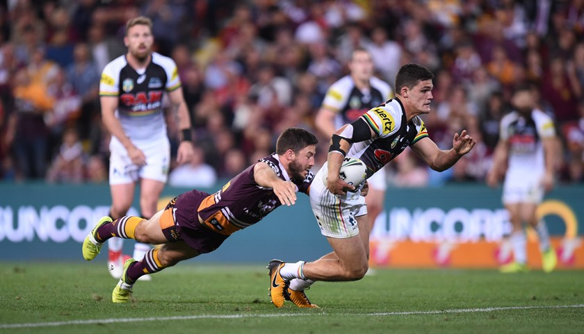 Panthers No.7 Nathan Cleary takes on the Broncos.