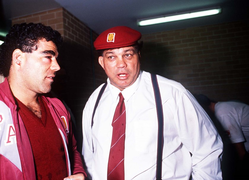 Mal Meninga and league Immortal Arthur Beetson during the 1989 Origin series.