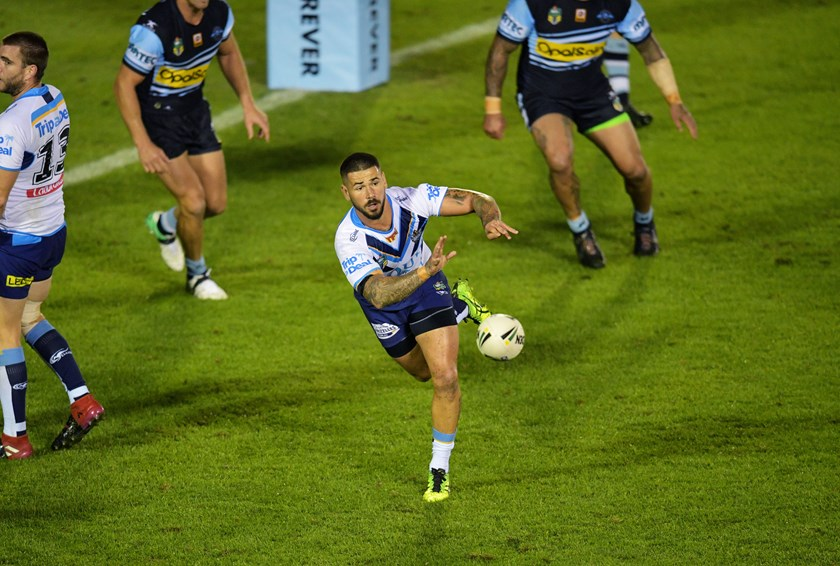 Gold Coast hooker Nathan Peats in action against Cronulla.