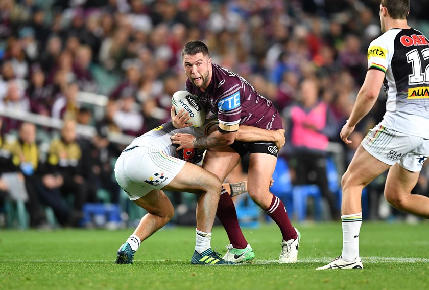 Manly back-rower Curtis Sironen takes on the Penrith defence.