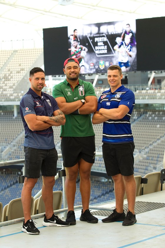 Warriors recruit Gerard Beale, South Sydney forward Zane Musgrove and Canterbury centre Kerrod Holland check out the new stadium in Perth.