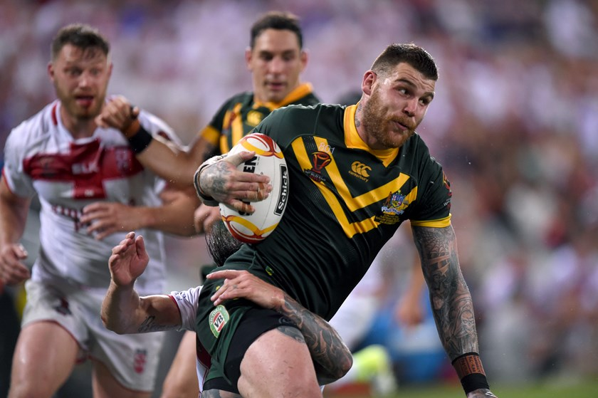 Josh Dugan in action during the Rugby League World Cup.