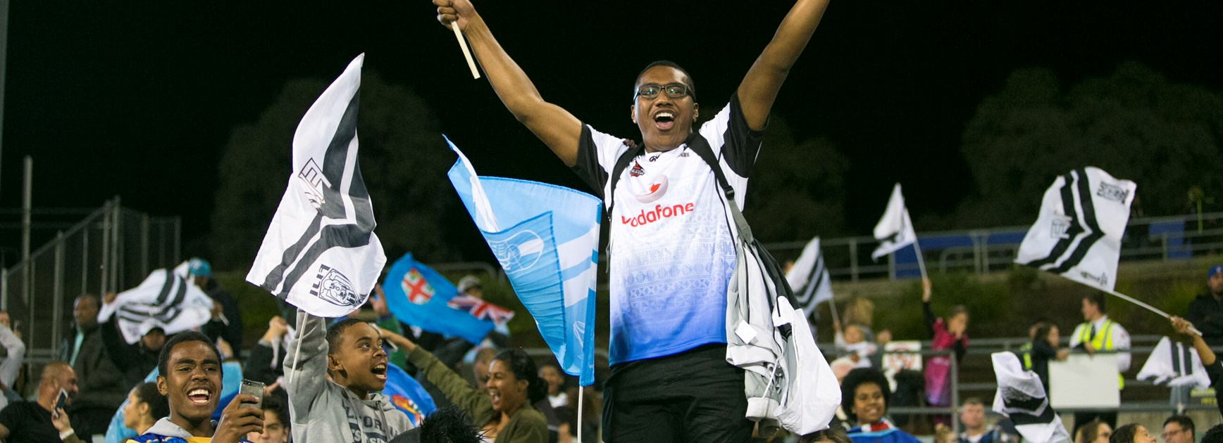 Fiji fans at the 2017 Rugby League World Cup.