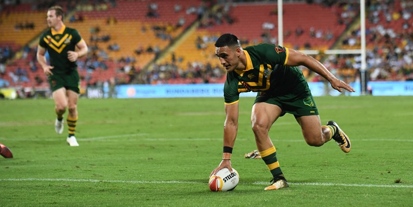 Valentine Holmes scores for Australia at the 2018 World Cup.