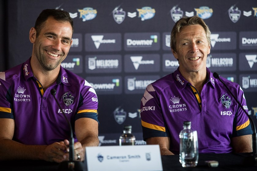 Cameron Smith and Craig Bellamy on Monday.