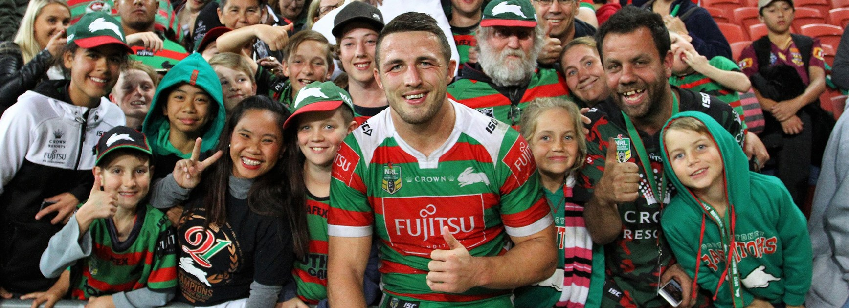 Sam Burgess with Rabbitohs fans.