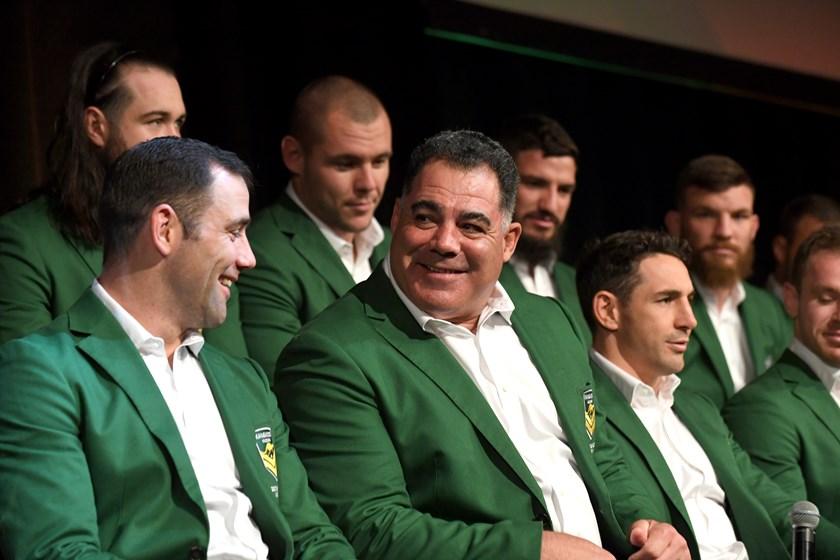 Australia coach Mal Meninga with Kangaroos players.