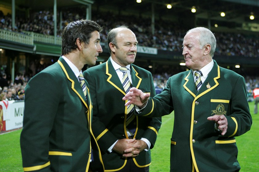 Rugby League Immortals Andrew Johns, Wally Lewis and John Raper.