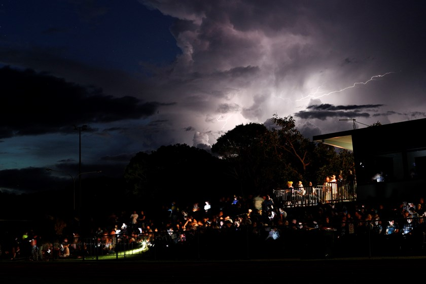 Darkness descends on Barlow Park during the storm.