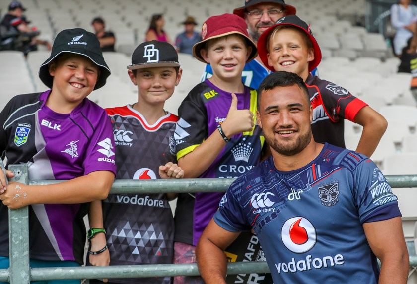Warriors recruit Peta Hiku with fans at Rotorua.