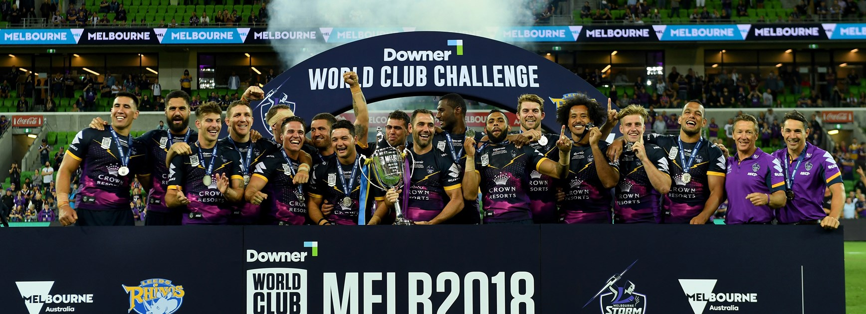 The Melbourne Storm celebrate their World Club Challenge win.
