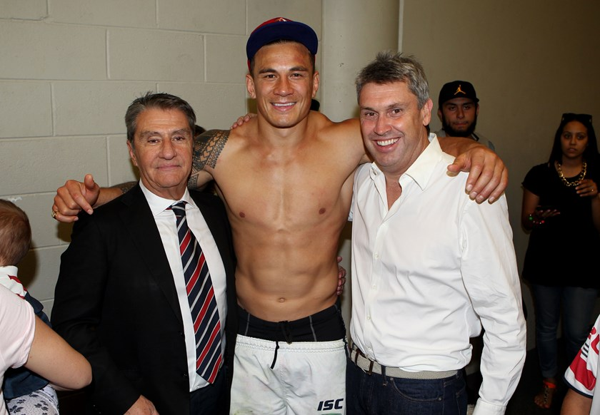 Nick Politis with star forward Sonny Bill Williams and Roosters director David Gyngell after the 2013 grand final.