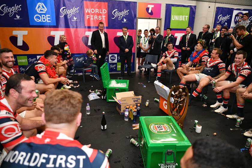 Nick Politis and coach Trent Robinson address the Roosters after winning the 2018 grand final.