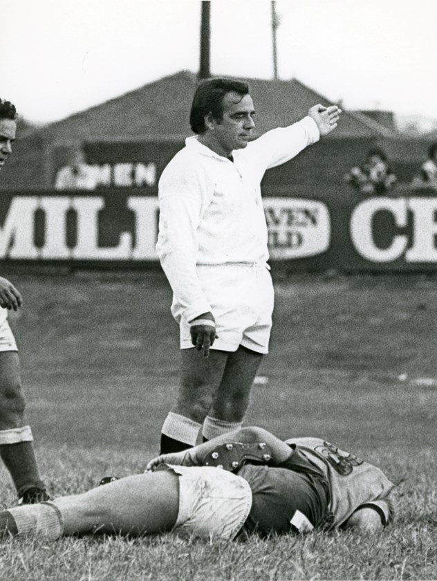 Referee Greg Hartley in action in the 1970s.
