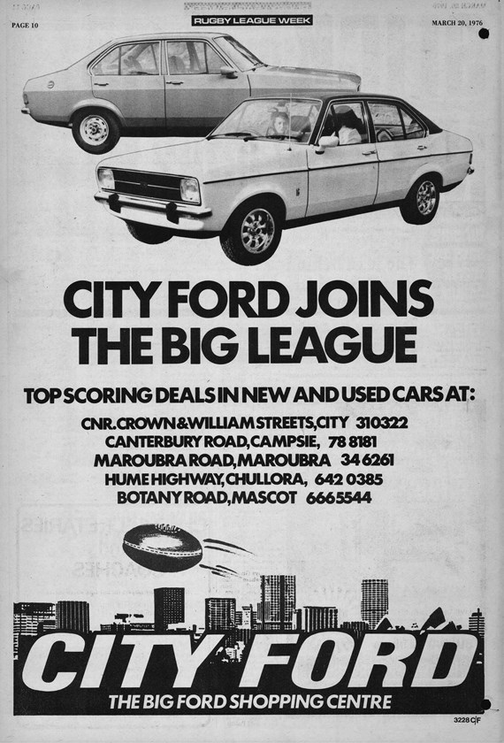 City Ford announces its arrival in the big league via Rugby League Week in 1976.