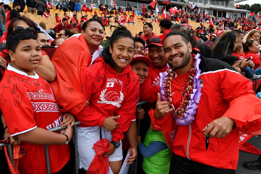 Tonga centre Konrad Hurrell at the fan day.