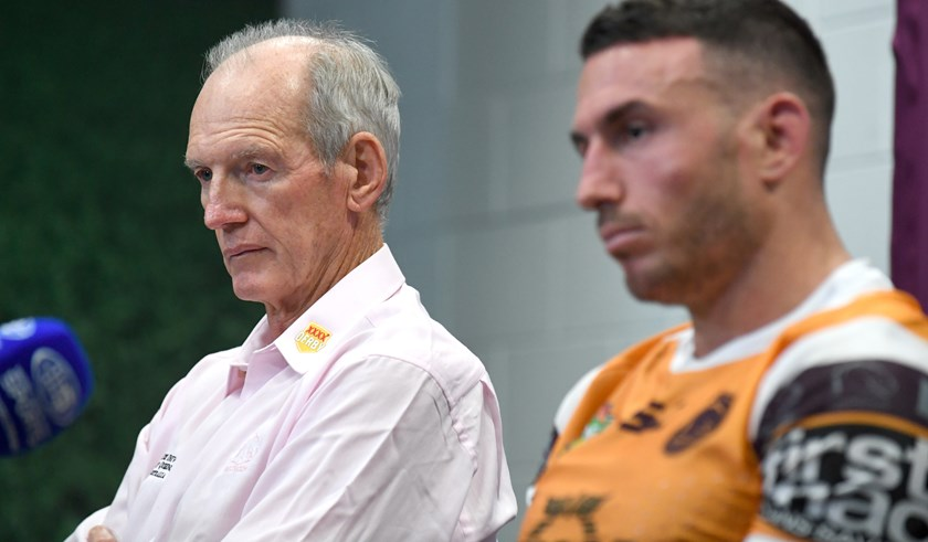 Broncos coach Wayne Bennett with captain Darius Boyd.