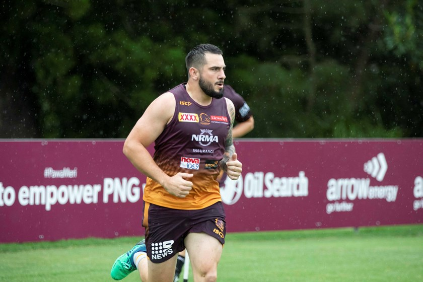 Jack Bird goes through his paces at pre-season training.