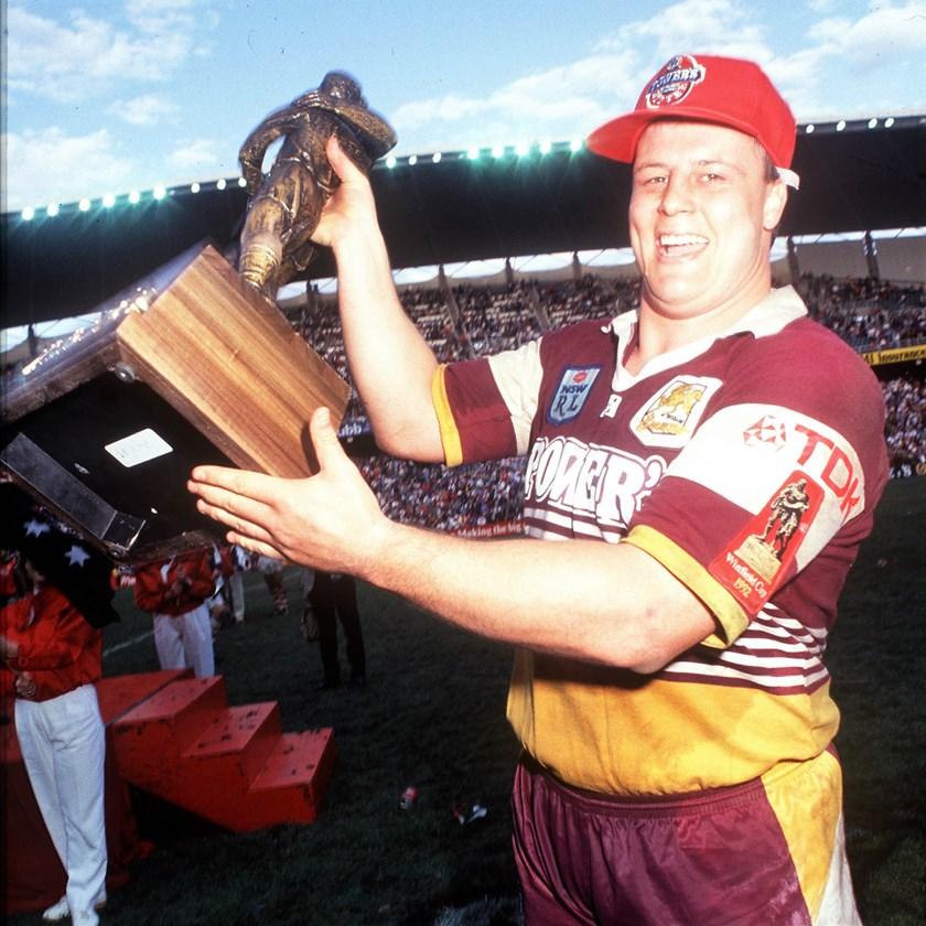Brisbane Broncos premiership-winning prop Glenn Lazarus after the 1992 grand final.