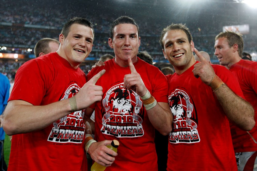 Brett Morris, Darius Boyd and Jason Nightingale after winning the 2010 grand final with St George Illawarra.