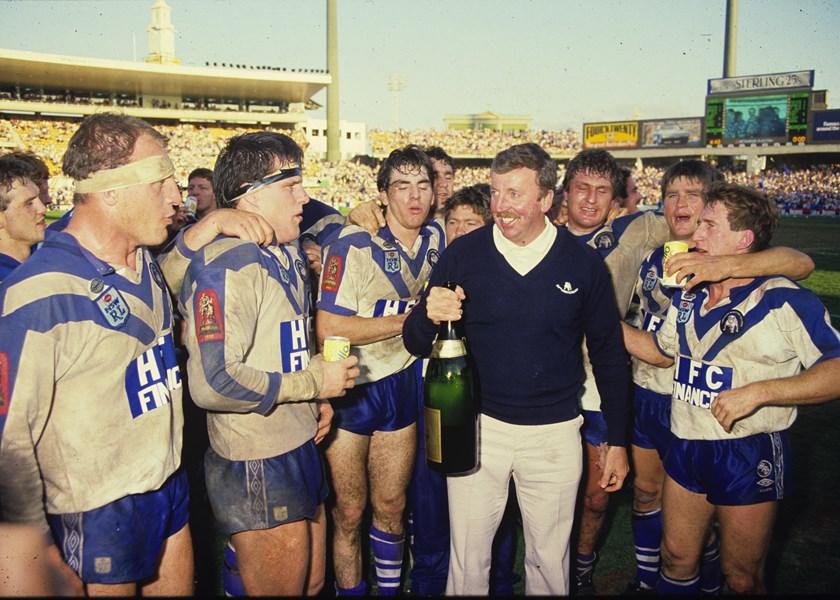 Bulldogs coach Warren Ryan and his players celebrate their 1985 grand final win.