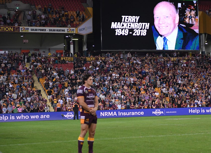 The Broncos hold a minute's silence for Terry Mackenroth.