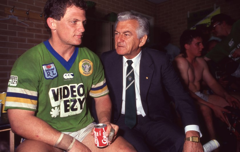 Steve Walters and Bob Hawke after a match.