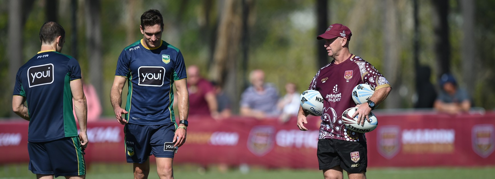 Referees Alan Shortall and Ziggy Przeklasa-Adamski at Maroons training.
