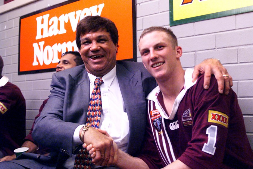 Arthur Beetson with another former Maroons skipper, Darren Lockyer.