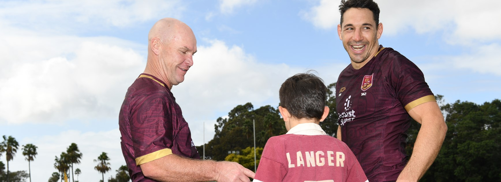 Allan Langer and Billy Slater at Maroons training.