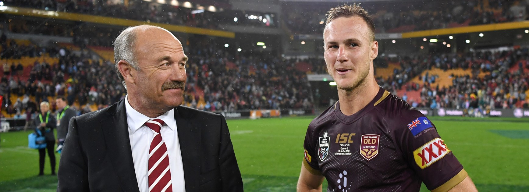 Maroons half Daly Cherry-Evans with 'the King'.