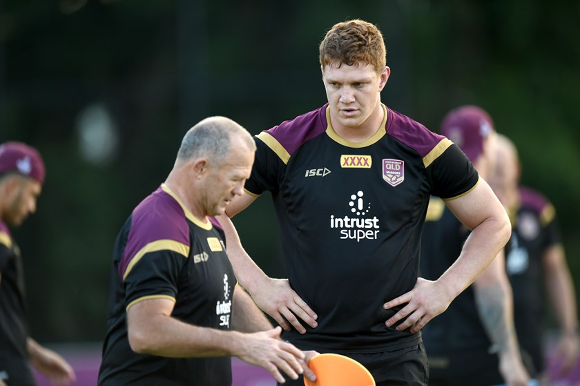 Dylan Napa with Maroons assistant coach Trevor Gillmeister.