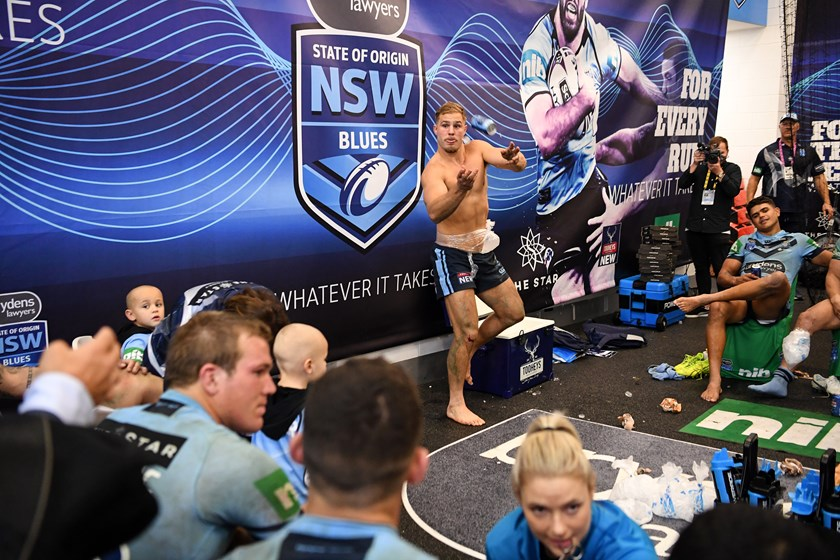 Jack de Belin celebrates in the NSW sheds after Origin I.