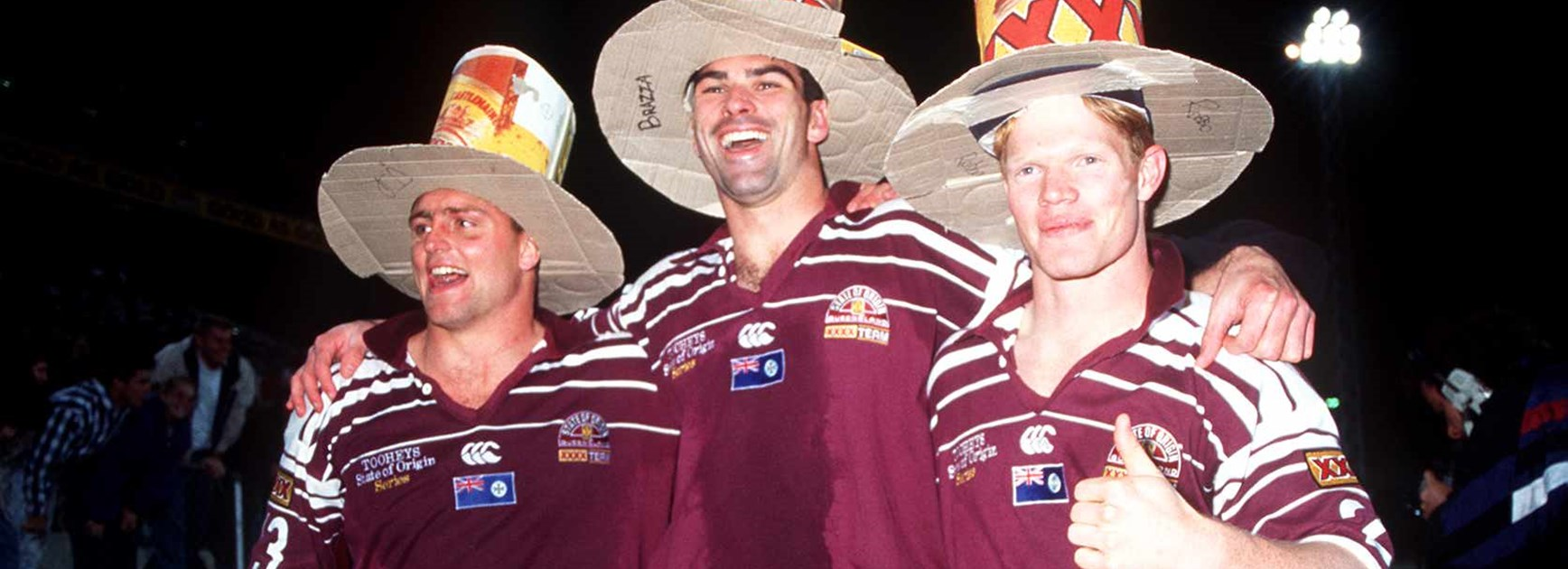 Maroons trio Milly Moore, Danny Moore and Brett Dallas in 1995.