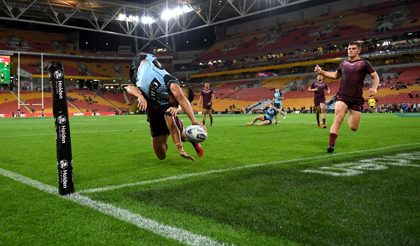 NSW winger Brian Too scores in the 2018 under 20s Origin game.