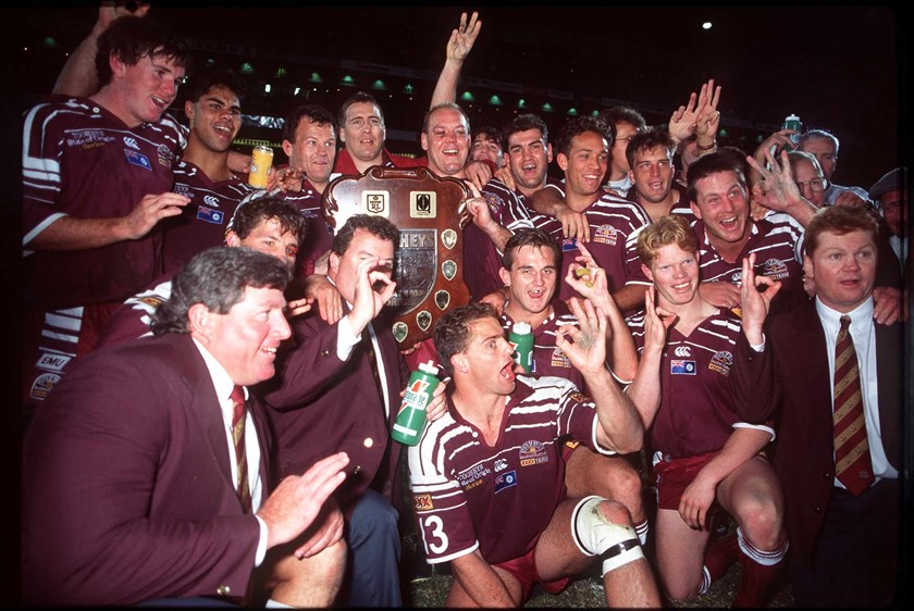 The triumphant 1995 Queensland State of Origin team.