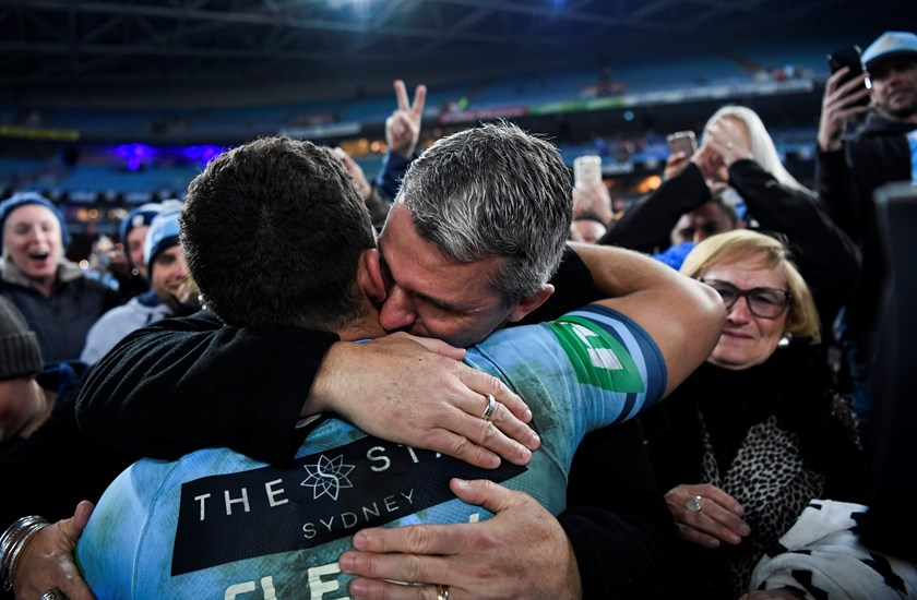 Ivan Cleary with Nathan Cleary after Origin II.
