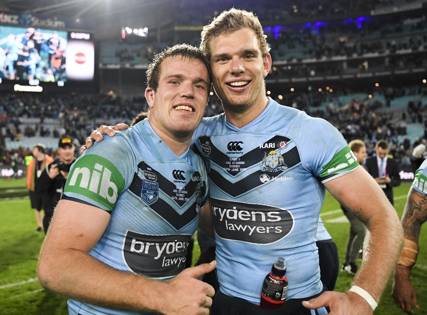 Jake and Tom Trbojevic celebrate the Blues win in Game Two in 2018.