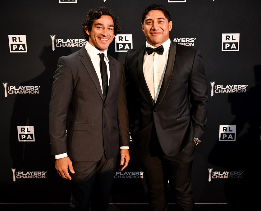Johnathan Thurston and Jason Taumalolo at the RLPA Players' Champion awards.