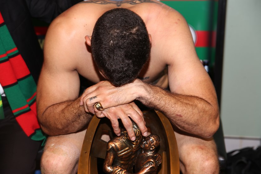 Rabbitohs captain Greg Inglis shortly after South Sydney won the 2014 grand final.