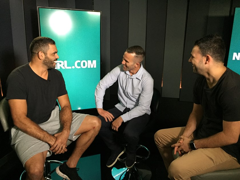 Greg Inglis with NRL.com's Steve Turner and Michael Chammas.