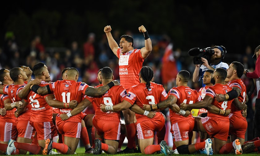 Jason Taumalolo leads Tonga's war cry.