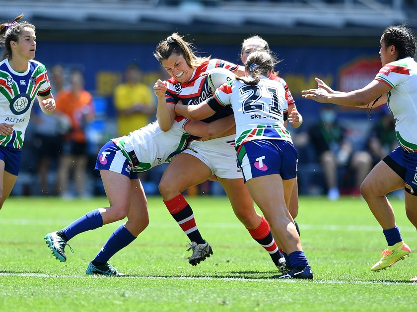Grace Hamilton on the charge for the Roosters.
