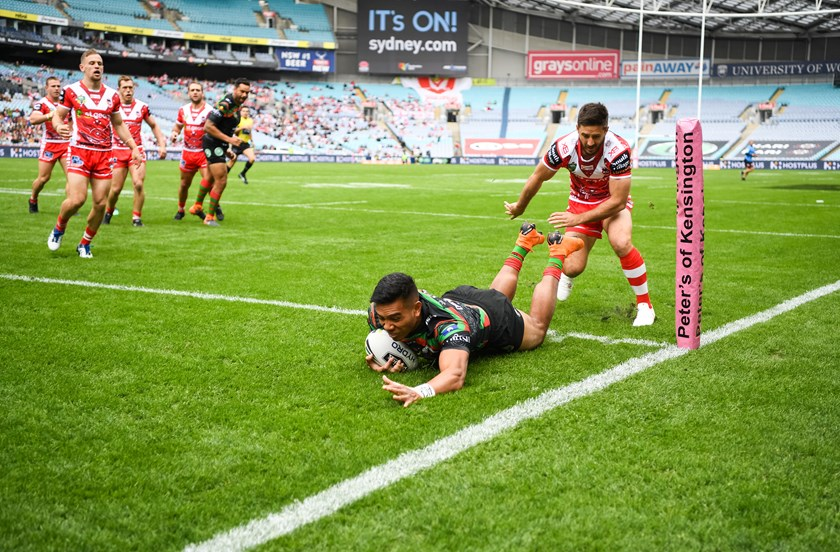 Hymel Hunt scores for Souths in 2018.