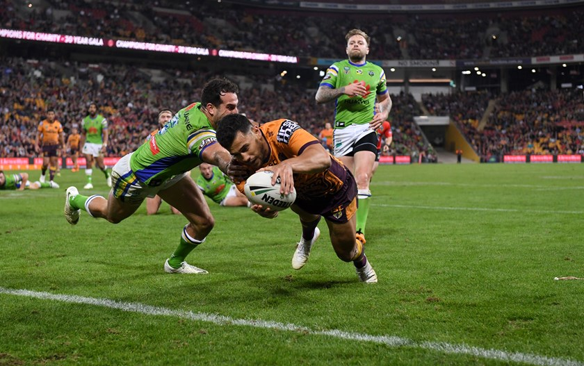 Jordan Kahu in action for the Broncos in 2018.