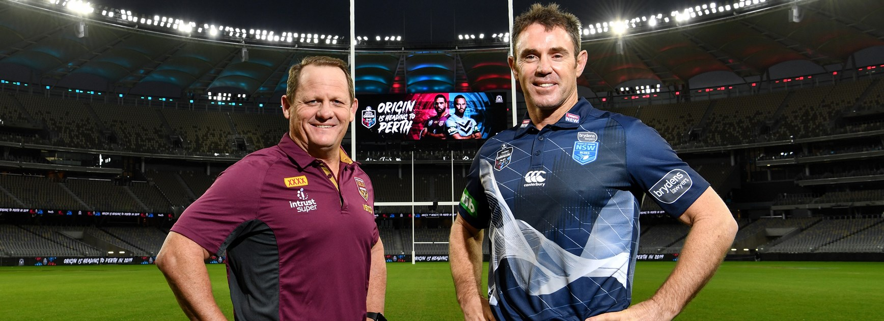 Queensland coach Kevin Walters and NSW coach Brad Fittler in Perth.