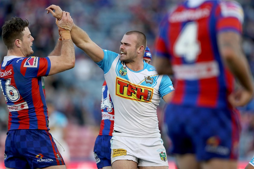Keegan Hipgrave and Lachlan Fitzgibbon lock horns in round 19.