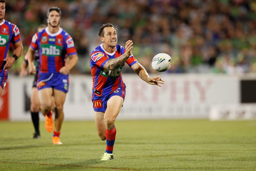Knights halfback Mitchell Pearce in action.